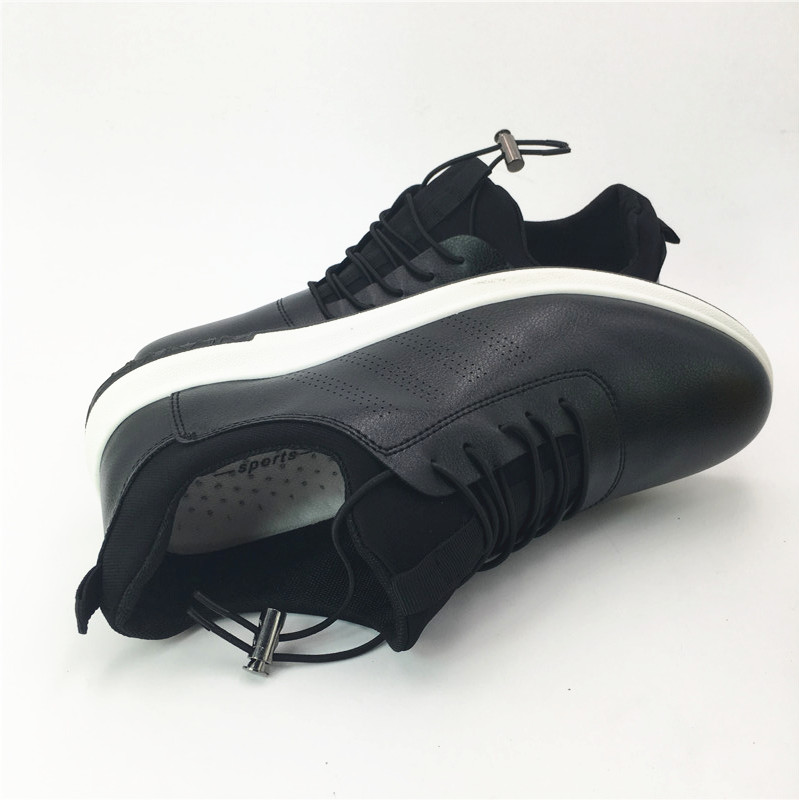 Men's Leather Casual Shoes Classic Fashion Male Elastic Band Black White Men Krasovki Flats Heel Sneakers tenis masculino jx3 2017 new spring imported leather men s shoes white eather shoes breathable sneaker fashion men casual shoes