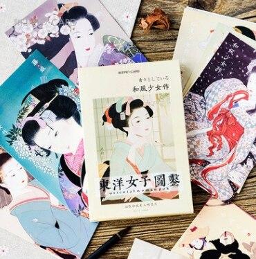14.3cm*9.3cm Vintage Girl Paper Postcard(1pack=30pieces)