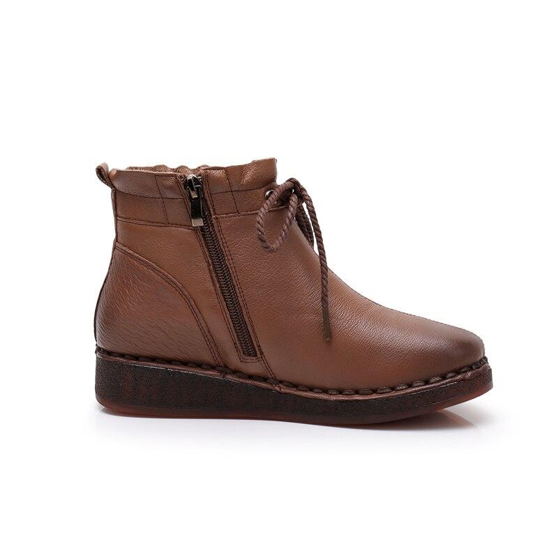 Planos Mujer Redonda Punta Botas Gktinoo Mano Señoras La Otoño Zapatos marrón Las Negro Suave De A Casuales Hecho Motocicleta wRPx8xqB
