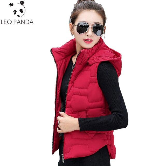 Otoño Invierno chaleco mujeres chaleco 2018 mujeres cremallera chaqueta sin  mangas negro rojo con capucha chaleco 76e519dc75b1
