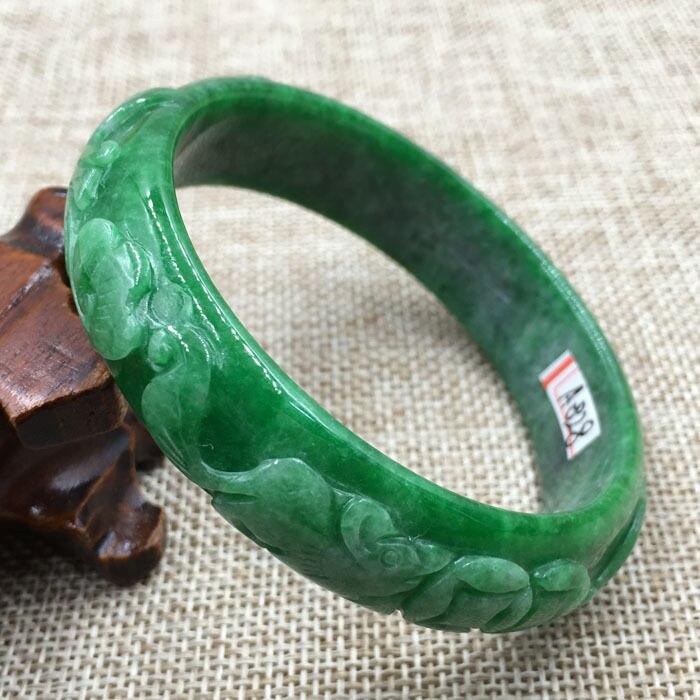 100/% Natural A JADE Emerald Green Jadeite Bead Beads Bangle Brace.1pc