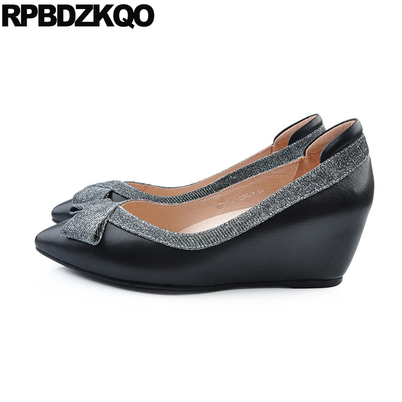 Women High Heels Pumps Office Nude Shoes Black Bow Hidden -3148