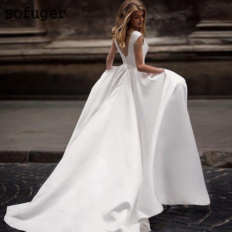 White Wedding Dress Aline Backless Elegant Scoop Zipper Satin Train Bridal Gown Wedding Dresses Vestidos de