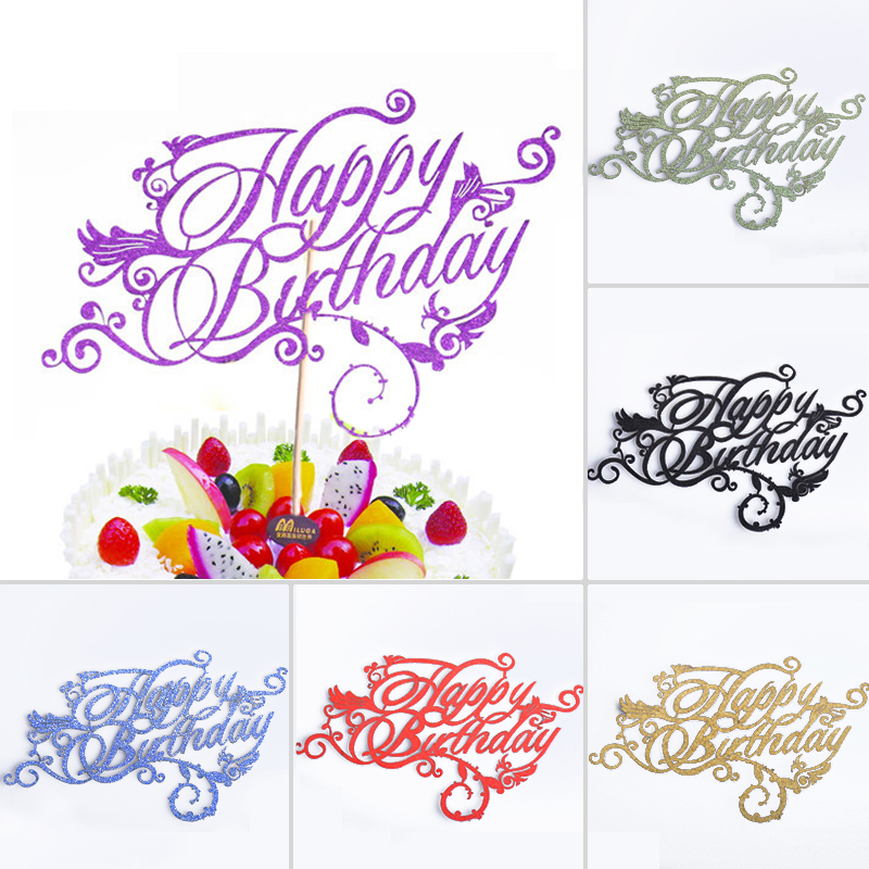 artistic fonts happy birthday cupcake cake topper cake flags family friends birthday party. Black Bedroom Furniture Sets. Home Design Ideas
