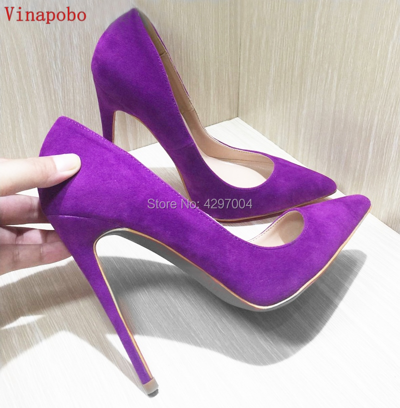 Vinapobo Suede Pointed Toe Stiletto Heels Dress Pumps Shallow Slip on 12cm Ultra High Heel wedding Shoes Purple Yellow Blue Red-in Women's Pumps from Shoes    1