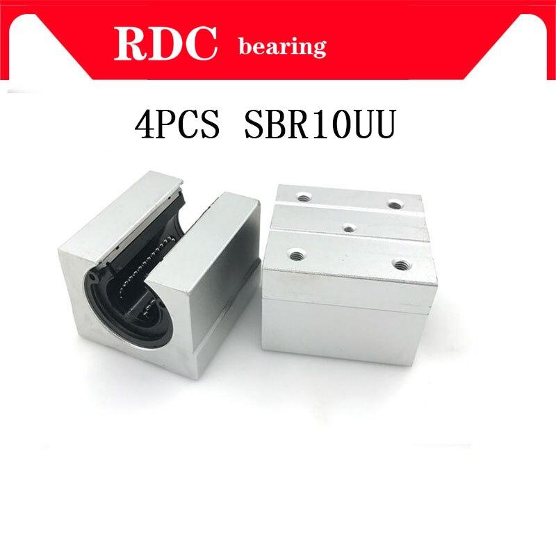 4 шт. SBR10UU высококачественный алюминиевый блок 10 мм линейного движения шариковых подшипников скользящий блок подходит для использования SBR10...