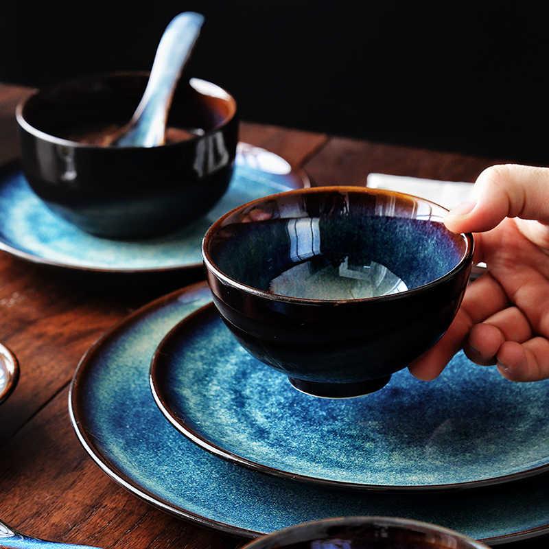 KINGLANG 2/4/6 persone Set di Cena Giapponese Ciotola Set Famiglia Set Da Tavola In Ceramica Smalto di Colore Del Pavone Del Modello set di Piastre ciotola