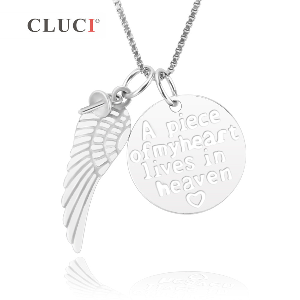 CLUCI 925 Sterling Silver Angle Wing Pendant Mounting A Piece Of My Heart Lives In Heaven Round Pendant Separable Necklace Diy