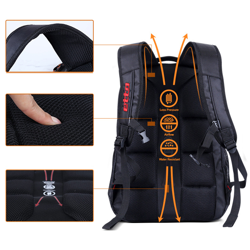 Etto Quality Waterproof Nylon Oxford Sports Backpack Gym Bag Men Women 25L Black Multifunction Outdoor Travel Backpack HAB600
