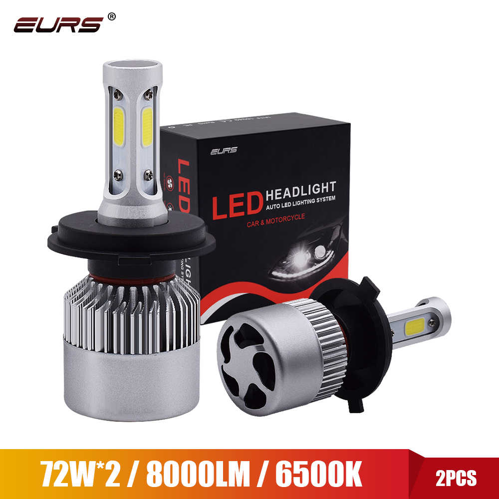 EURS 2PCS 6500K H7 LED H4 H11 H8 HB4 H1 H3 HB3 LED Car Headlight Bulb 12V 72W 8000lm LED Motorcycle Fog lamp