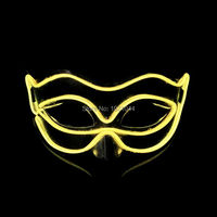 El Wire Light Up For Party Rave DJ Club Event Party Mask 50pcs Glowing Keaton Mask