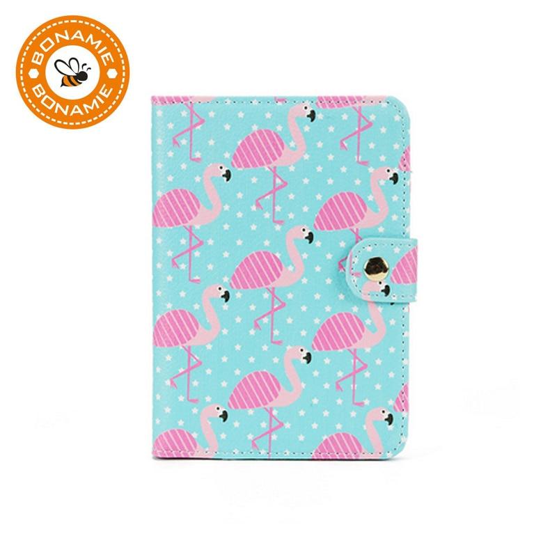BONAMIE Cute Women Passport Covers Travel Accessories Flamingo Map Men Female Passport Holder Cartoon PU Leather Credit Card Bag
