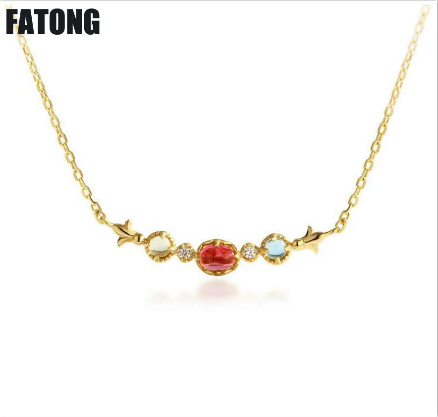 Natural Red Tourmaline Light Luxury Jewelry 925 Sterling Silver Topaz Lemon Crystal Necklace J049