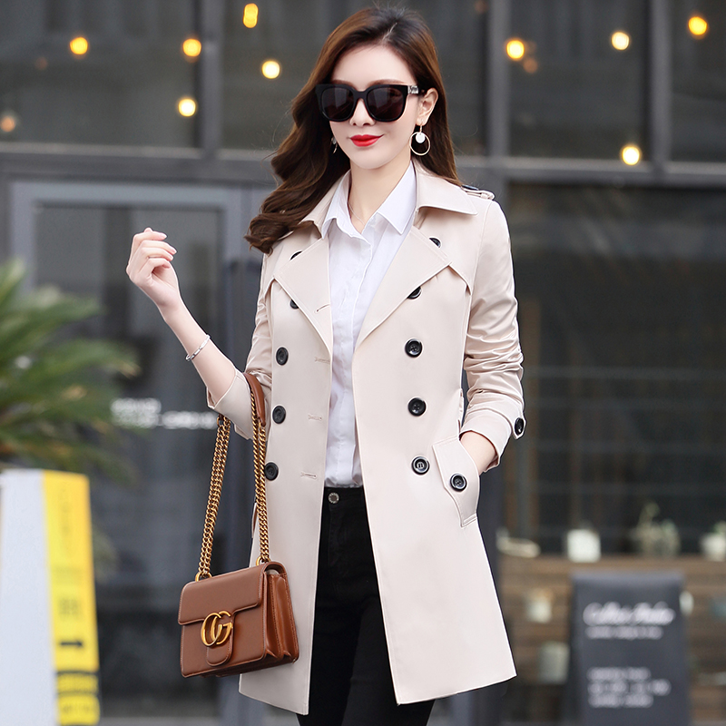 Maxi 6XL 5XL Autumn New High Fashion Brand Woman Classic Double Breasted   Trench   Coat Waterproof Raincoat Business Outerwear