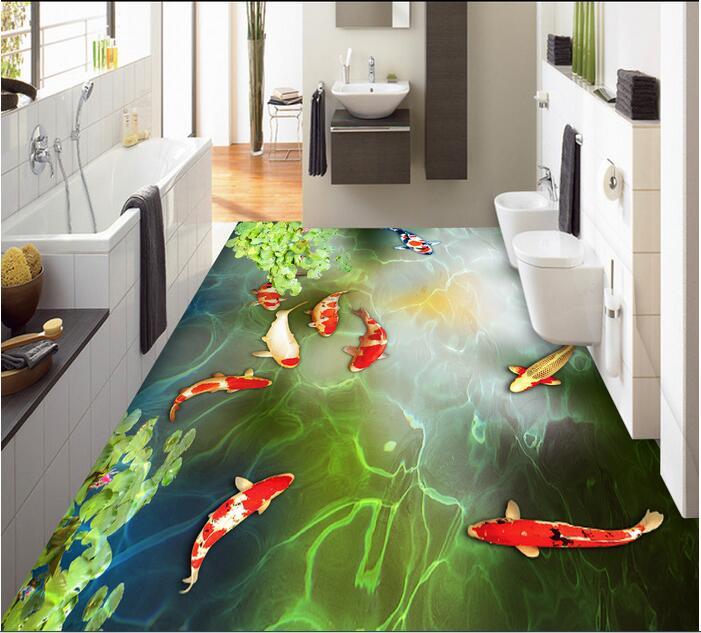 3 d pvc flooring custom  wall paper 3 d bathroom flooring Lotus carp swimming nine fish figure photo wallpaper for walls 3d