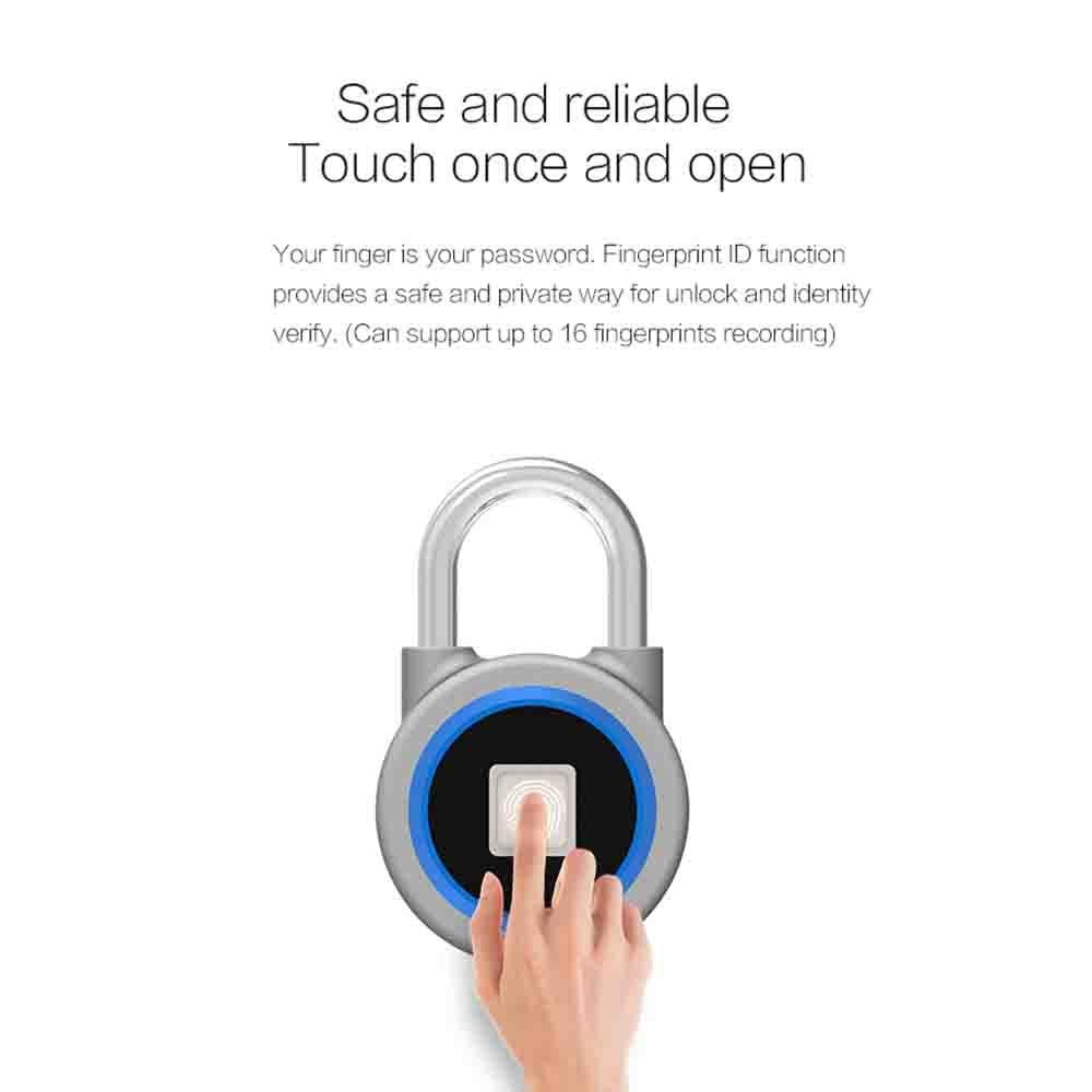 P2 Smart Keyless Fingerprint Lock Bluetooth Phone APP Unlock Waterproof Anti-Theft Padlock Door Lock for Android iOSP2 Smart Keyless Fingerprint Lock Bluetooth Phone APP Unlock Waterproof Anti-Theft Padlock Door Lock for Android iOS