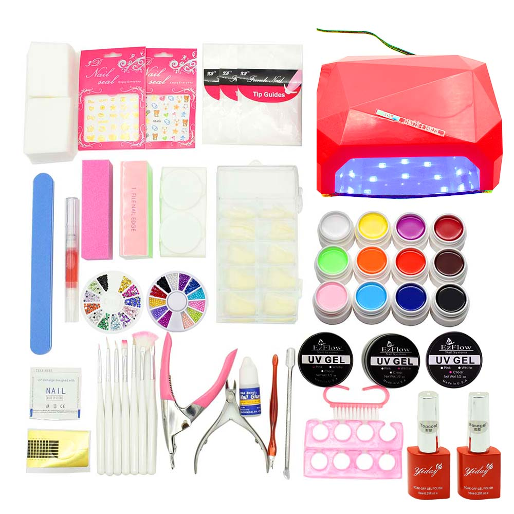 36W nail UV LED Lamp 12 Color soak off uv Gel nail base gel top coat gel nail polish kit Manicure nail art tools Sets & Kits cnhids 24w professional 9c uv led lamp 6 color 10ml soak off gel nail base gel top coat other nail tools nail polish set