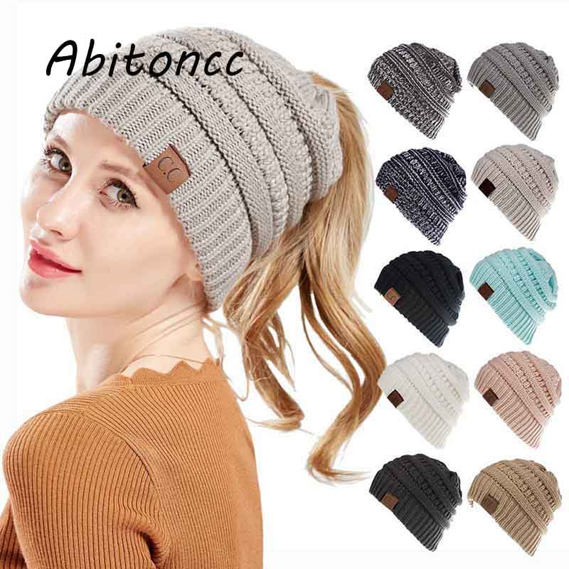 Fashion CC Ponytail Beanie Hat Women Crochet Knit Cap Winter Skullies  Beanies Warm Caps Girls Knitted Stylish Hats For Ladies-in Skullies    Beanies from ... 8b86ed110024
