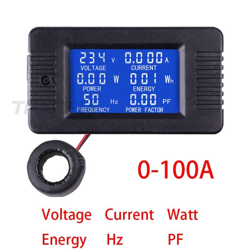 Medidor do fator de potência AC80-260V 100a amperímetro do voltímetro com a bobina ct tx022 medidor de corrente da tensão digital lcd painel amp volt watt kwh