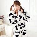 3D bonito dos desenhos animados de animais vaca flanela camisola das mulheres outono e inverno casal longo-manga roupão grosso