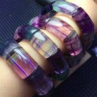 Hakiki Coloful Florit Fluorspar Kristal Kuvars Dikdörtgen Boncuk Streç Kadınlar Güzel Bilezikler 15*12mm