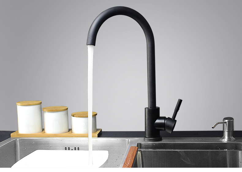 Mitigeur moderne chaud et froid pivotant   360 degrés robinet dévier de cuisine noir à poignée unique en acier inoxydable-MD3385