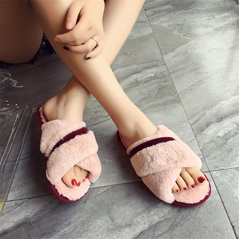 COOTELILI Women Plush House Slippers with Soft Fur Fashion Winter Warm  Shoes Woman Slip on Flats 8d54b086451d