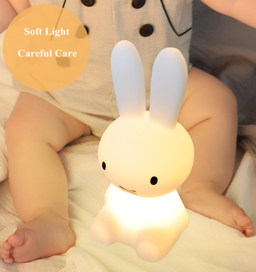 SuperNight Cartoon Rabbit LED Night Light Dimmable Rechargeable Touch Sensor Bedroom Bedside Table Lamp for Baby Kids Toy Gift (22)