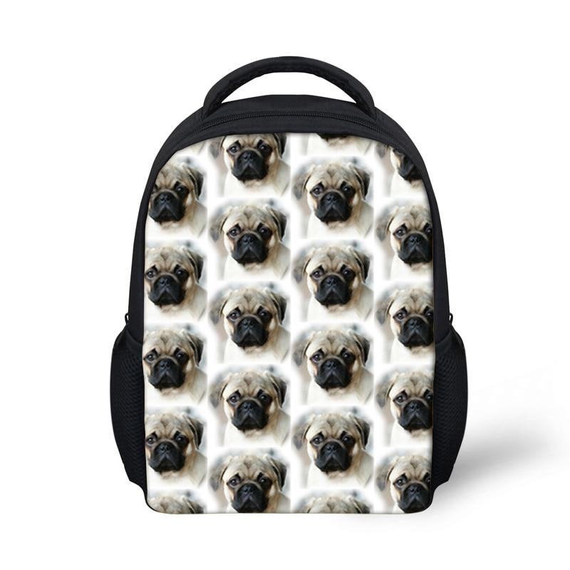 Kindergarten School Bags for Kids Small Backpack Cute Pug Dog Printing Book Bag Girls Boys Baby Bagpack Mochila