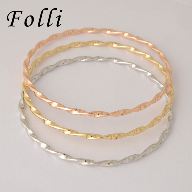 9815cb75f13 Folli 3Pieces Fashion Dubai Gold Color Bangle Trendy Tri Tones Filled  Nigerian Wedding African Beads Jewelry Bijoux Dubai 68MM