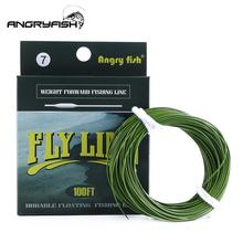 ANGRYFISH WF 5F/6F/7F 100FT Dloating Fly Fishing Line Weight Forward Floating Nylon Backing Line Tippet Tapered Leader Loop Army Green angler dream 3 5wt fly fishing combo 24sk carbon fiber fly rod and 3 4 5 6wt fly reel floating fishing line backing leader