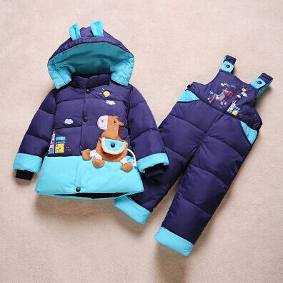ФОТО 2016 new winter jacket children's sets, boys and girls / Tyrannosaurus dinosaur hooded down jacket sets /  Down Jacket for baby