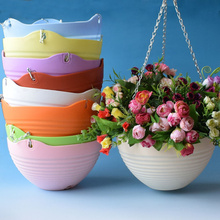 3pcs Thick plastic Hanging Basket With Metal Chain Balcony Garden Planter flower Pot Container home decor garden tool