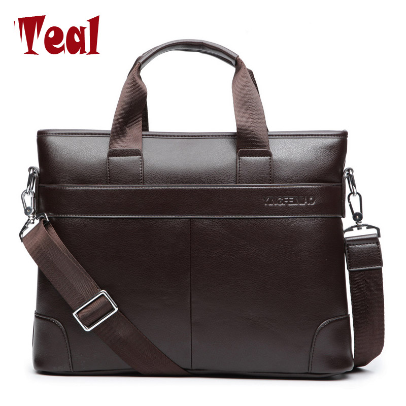 2018 Men's Business Black Casual Bag pu leather Briefcase men's Tote bags Brown High quality male Business large capacity