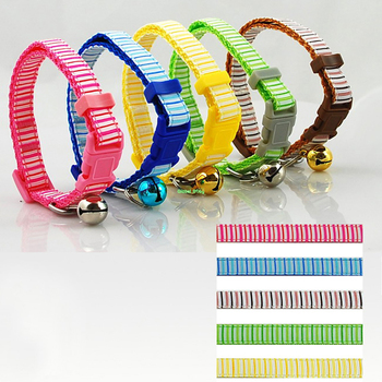(60 Pieces/Lot) 2 Sizes New Arrival Striped Vertical Lines Nylon Cat Puppy  Small Neck Lace Dog Pet Teddy Collar