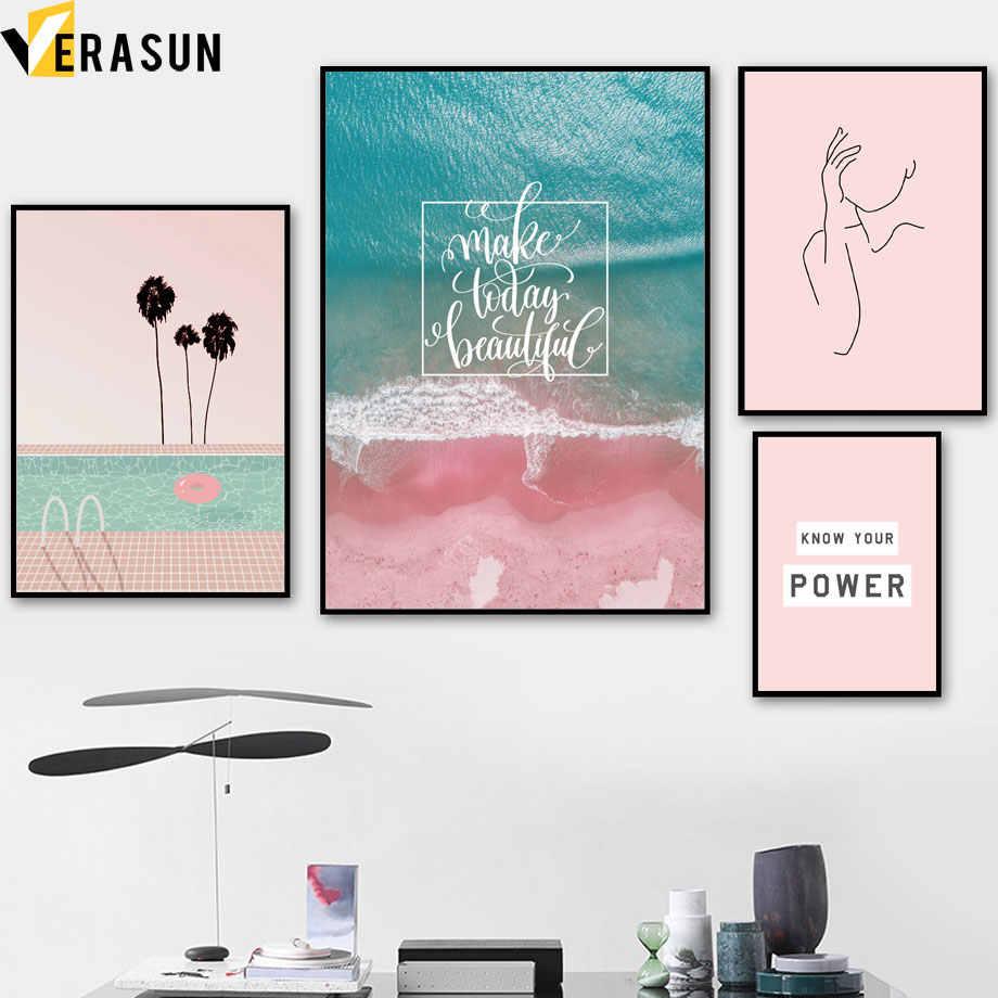 Розовый пляж море бассейн Кокосовая Модульная картина с изображением дерева