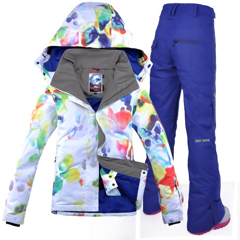 2018 GSOU SNOW Women Ski Suit Snowboard Jacket Pant Winter Suit Waterproof Windproof Outdoor Sport Wear Skiing Female Suit Set planet nails пилка для ногтей стандартная черная 180 180