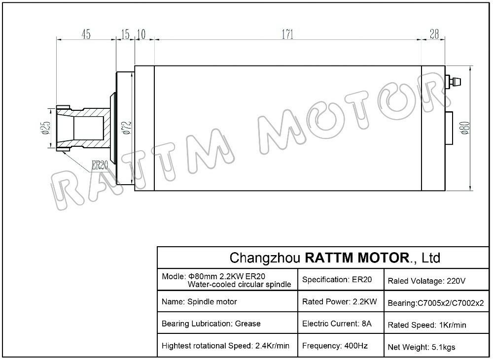 2.2 kW с водяным охлаждением чпу мотор шпинделя гравировальный фрезерный молоть 80x213 мм er20