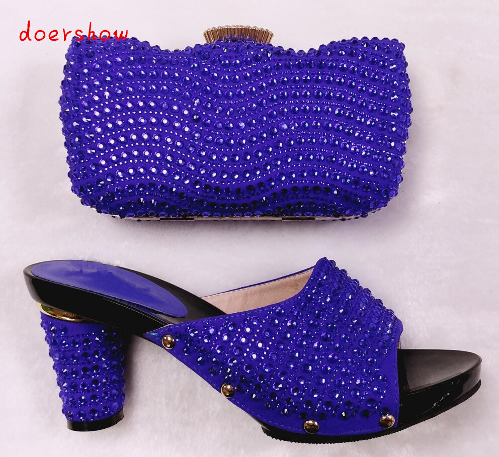 doershow High quality african shoes and bag set Women high heels royal blue Italian shoes with hangbag for party HHY1 27