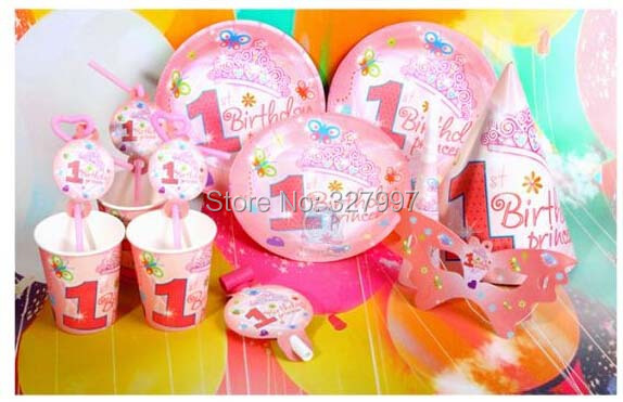 Pink Children Party Tableware Sets Disposable Home Happy Birthday