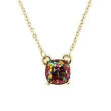 14 Colors Option 2016 Fashion Mini Square Glitter Necklace Women Rainbow Opal Choker Necklace Jewelry Wholesale(China)