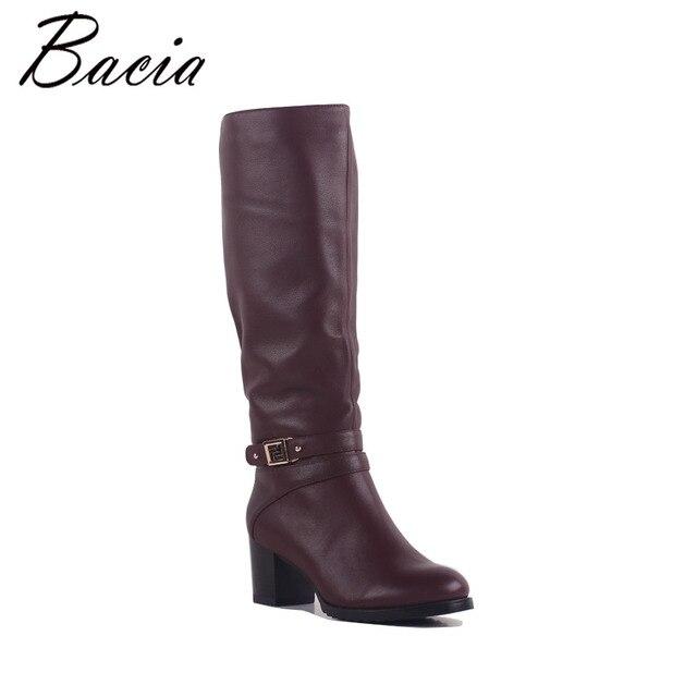 fc952d4513b Bacia Wine Red Boots SheepSkin Vintage Knee-High Boots Genuine Leather  Handmade Brand Boot Women