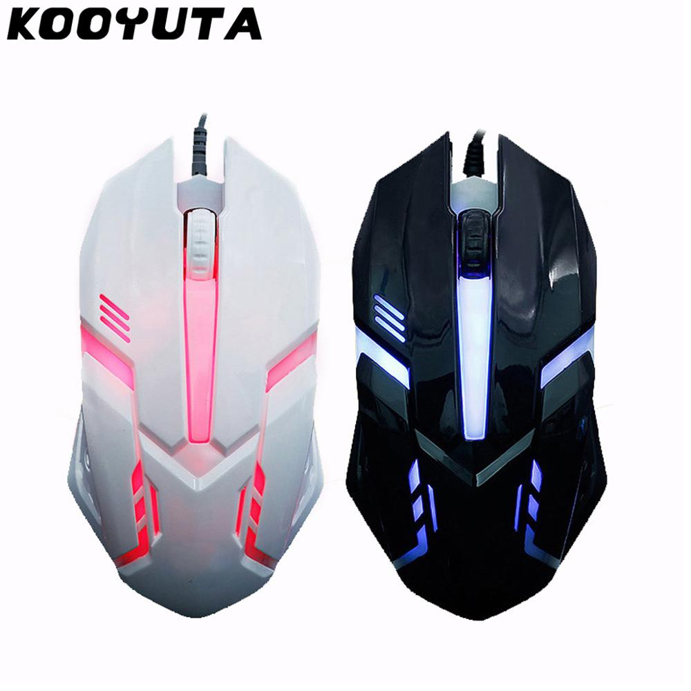 KOOYUTA Gaming Mouse USB Optical Wired Gaming Mice 1600 DPI Colorful Light Game Mause For PC Laptop Computer Notebook Desktop