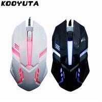 Kooyuta mouse gamer óptico usb com fio  gaming  ratos 1600 dpi  luz colorida  jogo  mause para pc  laptop  computador  notebook  desktop