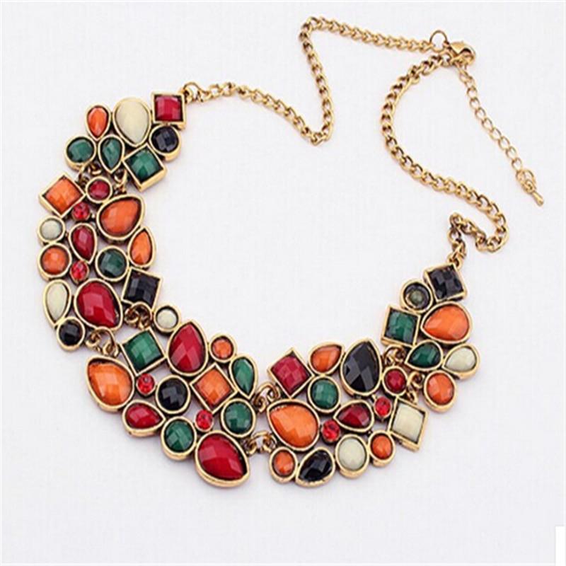 Bohême ethnique collier et pendentif Multi couche perles bijoux Vintage déclaration sautoir femmes à la main acrylique bijoux