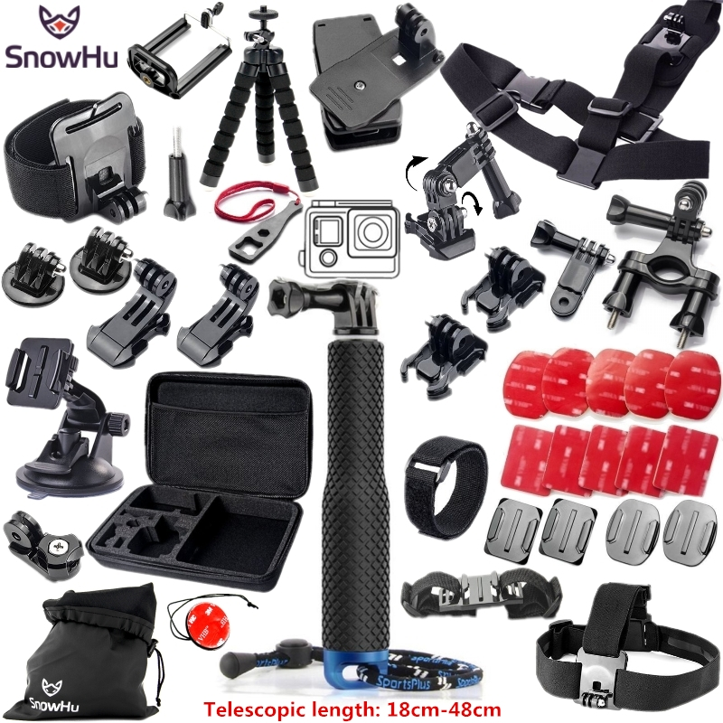 SnowHu for Gopro Hero 5 Accessories Set Helmet Harness Chest Mount Strap Monopod For Go pro hero 5 5S 4 3+ 3 xiaomi yi GS51