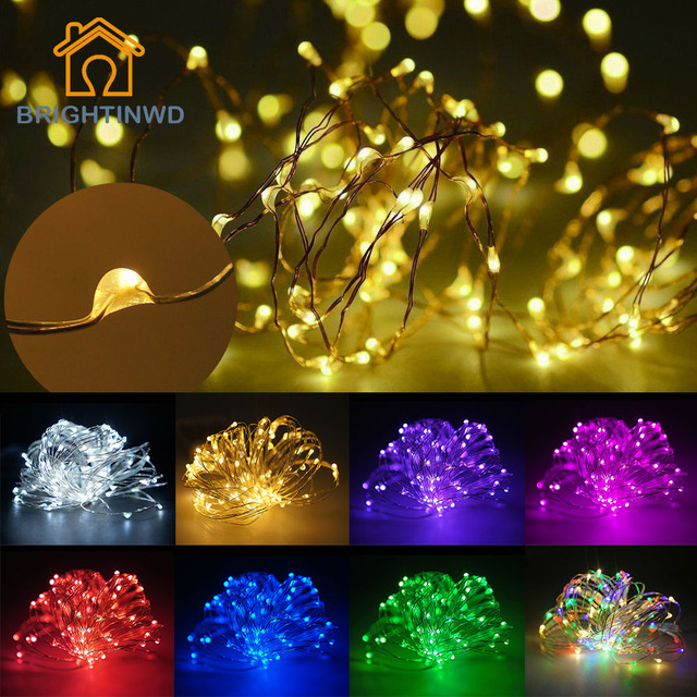 10 м., LED, управление 3 AA батареей, медный провод, цветная маленькая лента в волшебным освещением для украшения на Рождество, праздник, свадебную вечеринку