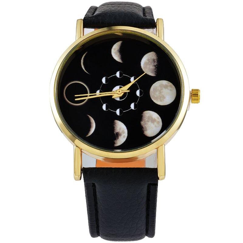 Reloj Mujer Fashion Solar Moon Phase Lunar Eclipse Watch Women Stylish Quartz Watch PU Leather Bracelet Watches Female Clock hou
