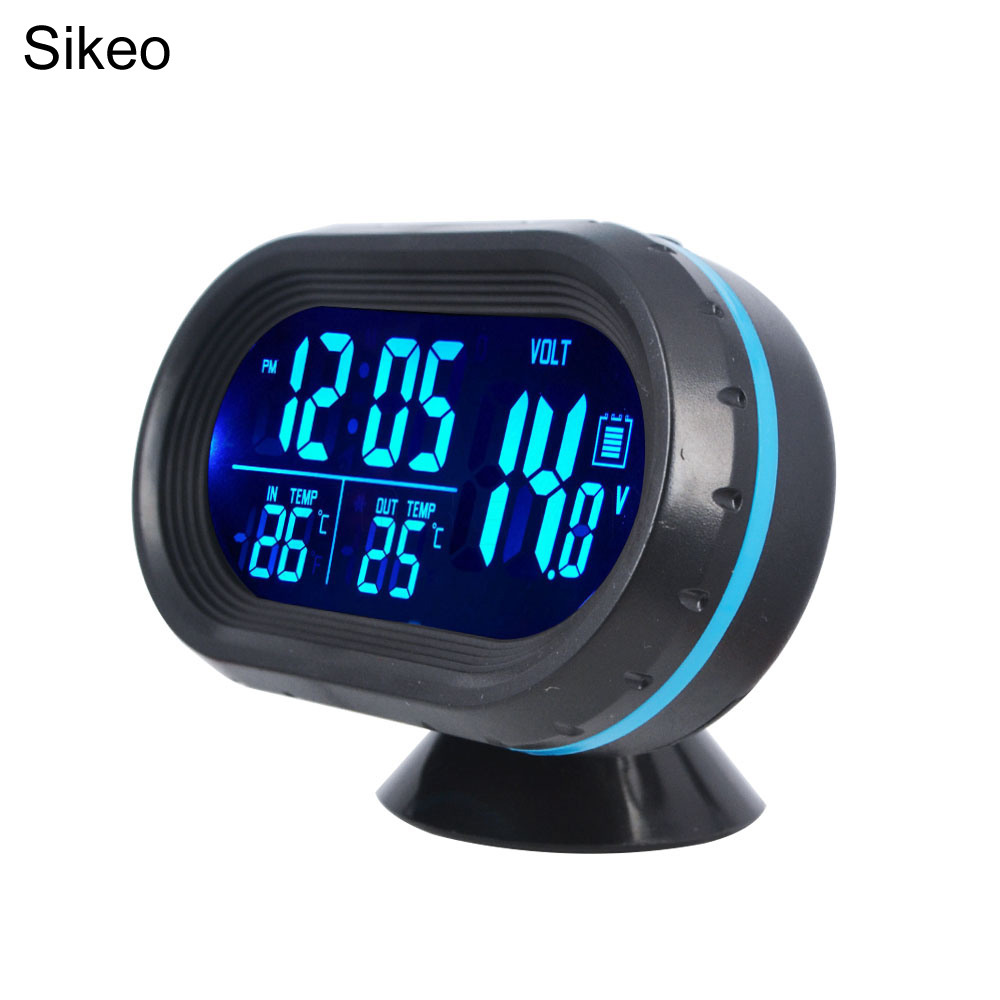 Dual Purpose Car Air Vent Clip-on LCD Blue Backlight Thermometer Clock JS Hot