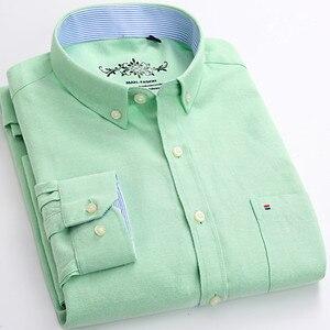 Image 3 - قميص رجالي أكسفورد جديد للربيع والخريف بأكمام طويلة من القطن غير رسمي قميص منقوش متين 5XL 6XL مقاس كبير